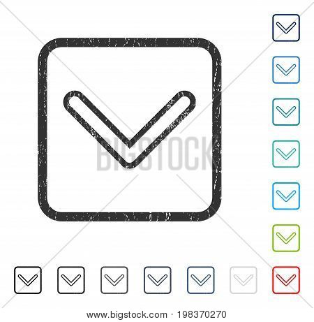 Arrowhead Down rubber watermark in some color versions.. Vector icon symbol inside rounded rectangle with grunge design and unclean texture. Stamp seal illustration, unclean sign.