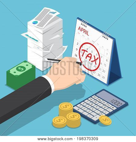 Isometric Businessman Hand Marking Tax Sign On Calendar