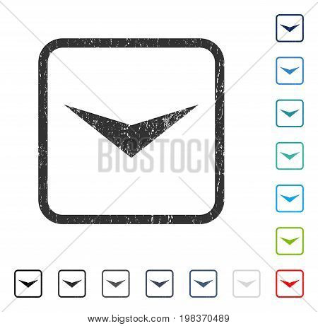 Arrowhead Down rubber watermark in some color versions.. Vector pictogram symbol inside rounded rectangle with grunge design and unclean texture. Stamp seal illustration, unclean emblem.