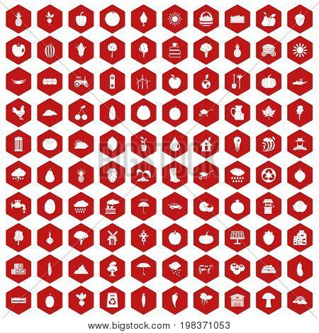 100 productiveness icons set in red hexagon isolated vector illustration