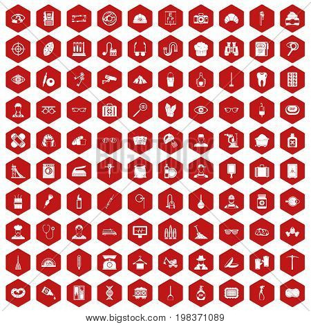 100 profession icons set in red hexagon isolated vector illustration