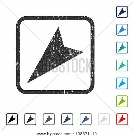 Arrowhead Left-Down rubber watermark in some color versions.. Vector pictogram symbol inside rounded rectangle with grunge design and unclean texture. Stamp seal illustration, unclean sticker.