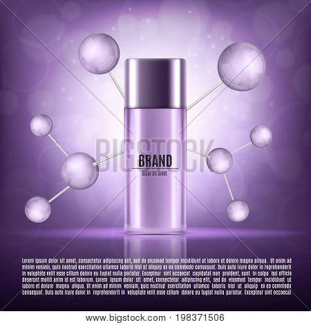 Cosmetic ads template. Realistic cosmetic bottle on a purple glitter background. Design for ads or magazine. 3d illustration. EPS10 vector