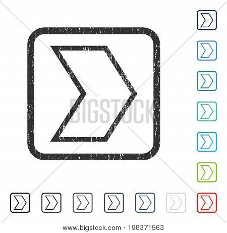 Arrowhead Right rubber watermark in some color versions.. Vector pictogram symbol inside rounded rectangle with grunge design and dust texture. Stamp seal illustration, unclean sign.
