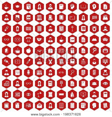 100 reader icons set in red hexagon isolated vector illustration