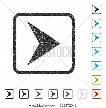Arrowhead Right rubber watermark in some color versions.. Vector icon symbol inside rounded rectangle with grunge design and dust texture. Stamp seal illustration, unclean emblem.