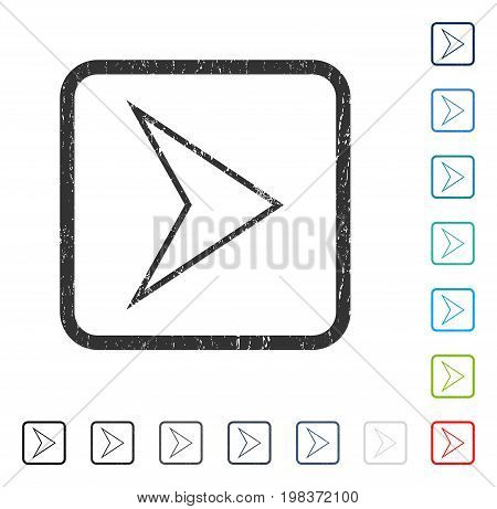 Arrowhead Right rubber watermark in some color versions.. Vector pictogram symbol inside rounded rectangle with grunge design and scratched texture. Stamp seal illustration, unclean sticker.