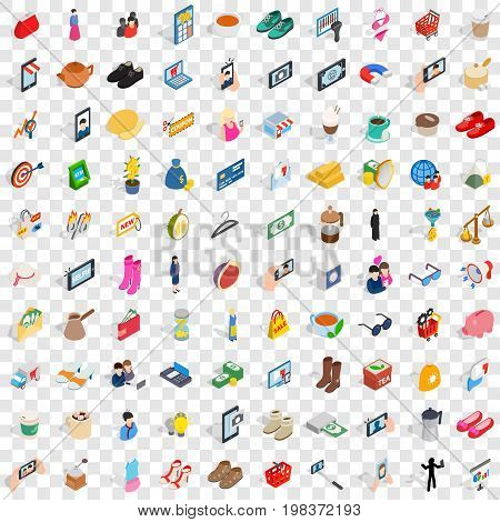100 girl icons set in isometric 3d style for any design vector illustration