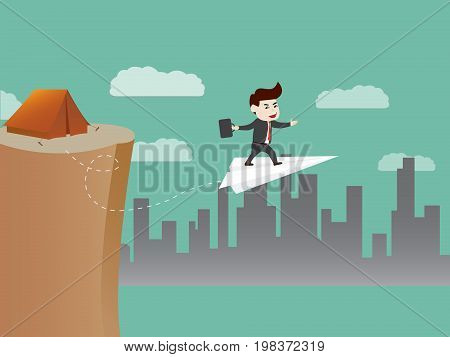 Businessman and holiday's life on paper air-plane, vector illustration