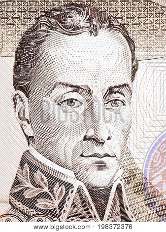 Simon Bolivar portrait from Colombian money - Peso