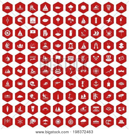 100 sailing vessel icons set in red hexagon isolated vector illustration