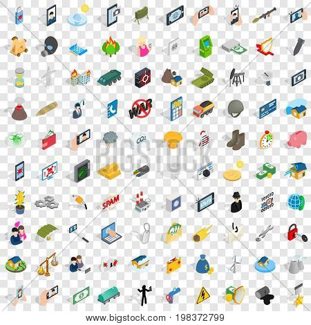 100 headway icons set in isometric 3d style for any design vector illustration