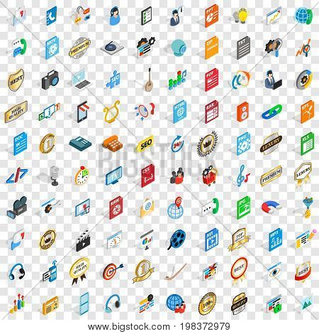 100 hi-fi icons set in isometric 3d style for any design vector illustration