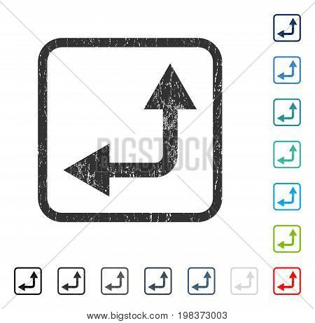 Bifurcation Arrow Left Up rubber watermark in some color versions.. Vector icon symbol inside rounded rectangle with grunge design and dust texture. Stamp seal illustration, unclean sign.