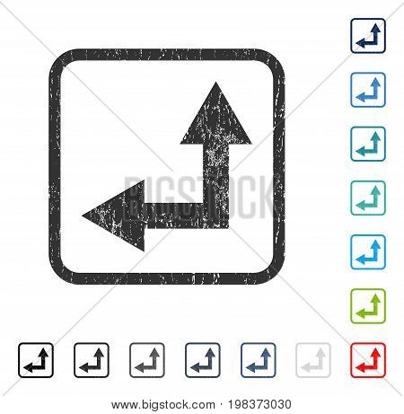 Bifurcation Arrow Left Up rubber watermark in some color versions.. Vector pictogram symbol inside rounded rectangular frame with grunge design and dirty texture. Stamp seal illustration,