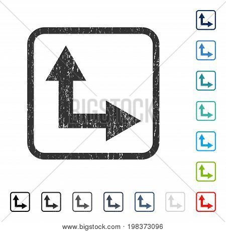 Bifurcation Arrow Right Up rubber watermark in some color versions.. Vector pictogram symbol inside rounded rectangular frame with grunge design and unclean texture. Stamp seal illustration,