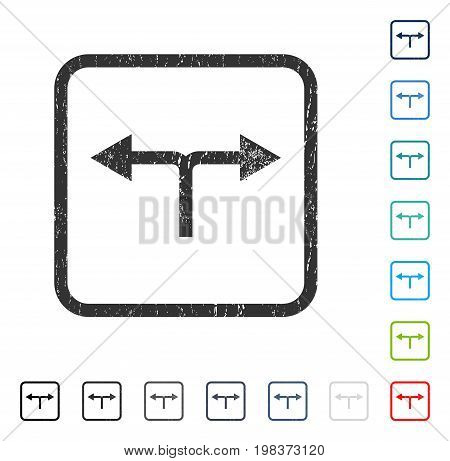 Bifurcation Arrows Left Right rubber watermark in some color versions.. Vector icon symbol inside rounded rectangular frame with grunge design and dirty texture. Stamp seal illustration,