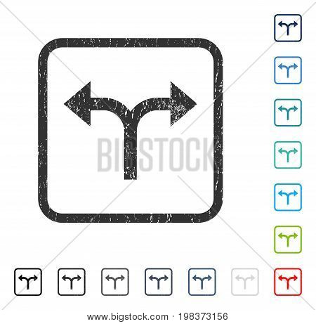 Bifurcation Arrows Left Right rubber watermark in some color versions.. Vector pictogram symbol inside rounded rectangle with grunge design and dirty texture. Stamp seal illustration, unclean sign.
