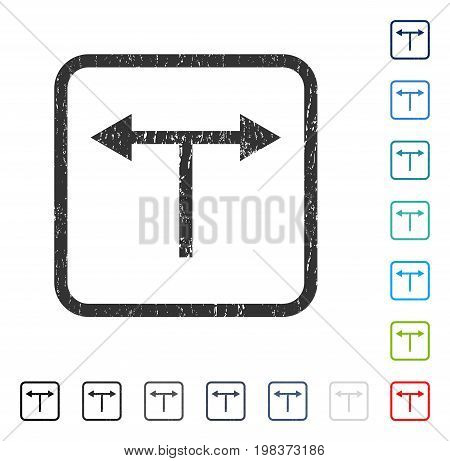 Bifurcation Arrows Left Right rubber watermark in some color versions.. Vector pictogram symbol inside rounded rectangle with grunge design and dirty texture. Stamp seal illustration, unclean emblem.