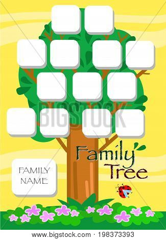 Genealogical cartoon tree in summer, vector illustration