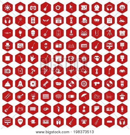 100 show business icons set in red hexagon isolated vector illustration