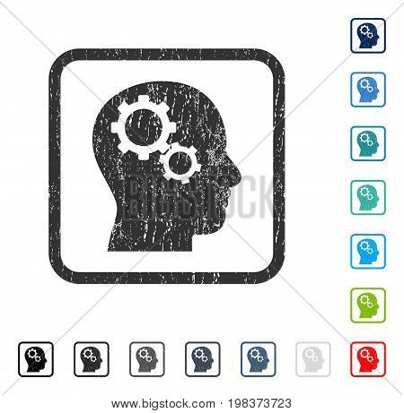 Brain Gears rubber watermark in some color versions.. Vector icon symbol inside rounded rectangle with grunge design and dirty texture. Stamp seal illustration, unclean emblem.