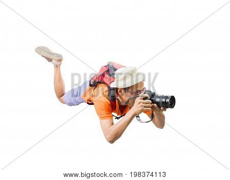 portrait face of young man take a photography by dslr camera floating mid air isolated white background