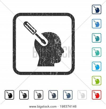 Brain Tool rubber watermark in some color versions.. Vector icon symbol inside rounded rectangle with grunge design and unclean texture. Stamp seal illustration, unclean emblem.