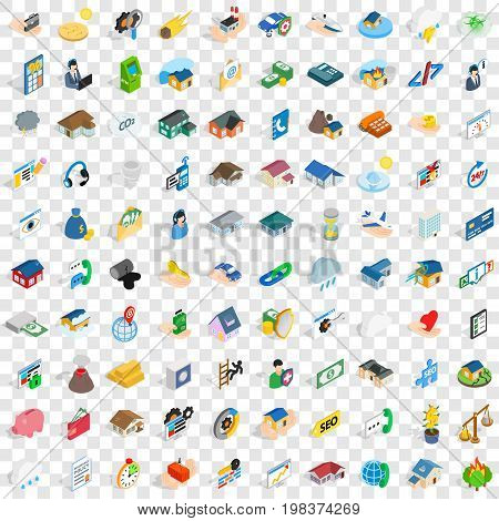 100 insurance icons set in isometric 3d style for any design vector illustration