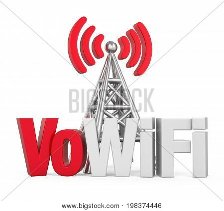 Voice over WiFi Sign with Metal Antenna isolated on white background. 3D render