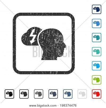 Brainstorming rubber watermark in some color versions.. Vector icon symbol inside rounded rectangle with grunge design and unclean texture. Stamp seal illustration, unclean sign.