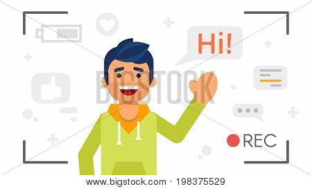 Vector flat style illustration of happy blogger man that records video blog. Vlog concept.