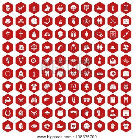 100 spring holidays icons set in red hexagon isolated vector illustration
