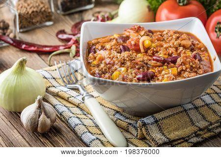Chili Con Carne In A Bowl.