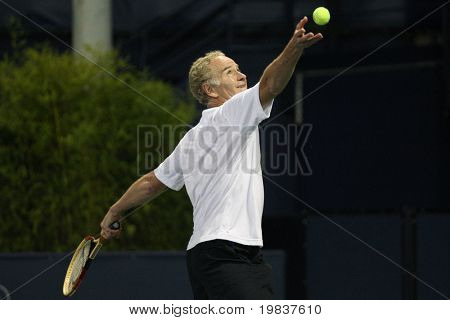 LOS ANGELES, CA. - JULY 24:  Andre Agassi and John McEnroe (pictured) play a charity match at the Farmers Classic on July 24 2010 in Los Angeles.