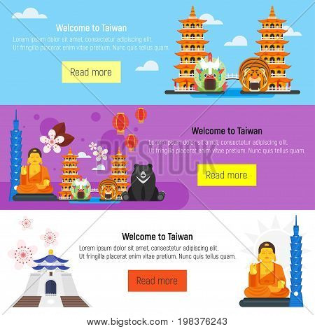 Vector flat style set of Welcome to Taiwan template for web banner or poster for tourist. Taiwan cultural symbols.