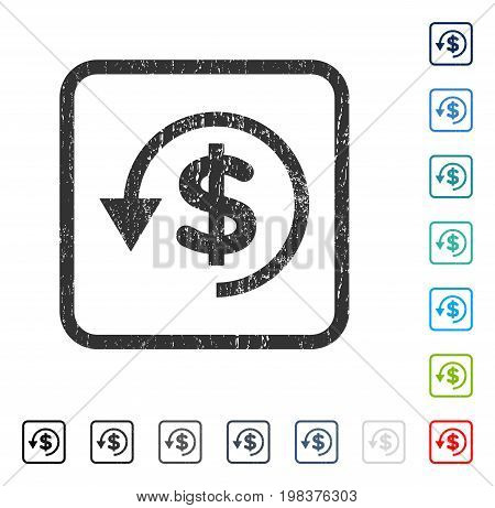Chargeback rubber watermark in some color versions.. Vector icon symbol inside rounded rectangle with grunge design and dust texture. Stamp seal illustration, unclean sign.