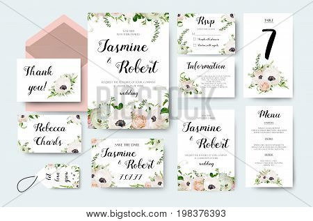 Wedding invitation invite flower invite card design with light pink garden Rose Anemone flower Ranunculus flowers romantic poster banner. Vector anniversary print. Elegant cute template isolated white