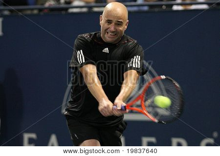 LOS ANGELES, CA. - JULY 24:  Andre Agassi (pictured) and John McEnroe play a charity match at the Farmers Classic on July 24 2010 in Los Angeles.