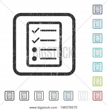 Checklist Page rubber watermark in some color versions.. Vector pictogram symbol inside rounded rectangle with grunge design and scratched texture. Stamp seal illustration, unclean sticker.