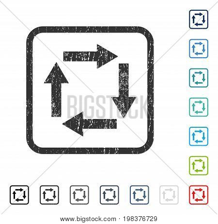 Circulation Arrows rubber watermark in some color versions.. Vector icon symbol inside rounded rectangle with grunge design and scratched texture. Stamp seal illustration, unclean sign.