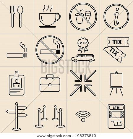 Exhibition thin line icons set, vector illustration