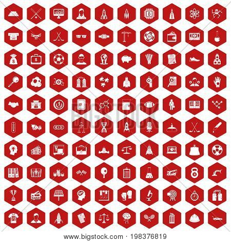 100 success icons set in red hexagon isolated vector illustration