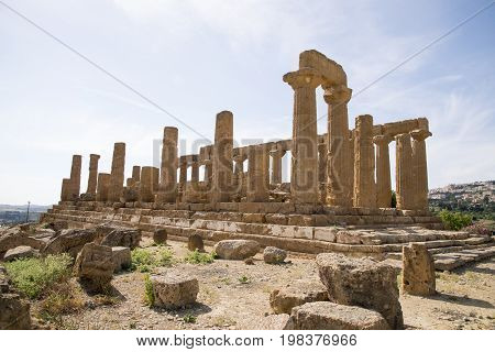 Temple of Hera Juno Lacinia at Agrigento Valley of the Temple Sicily Italy - May 22nd 2017