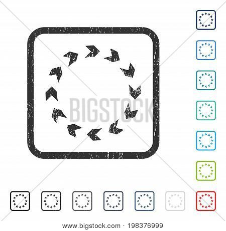 Circulation rubber watermark in some color versions.. Vector icon symbol inside rounded rectangular frame with grunge design and scratched texture. Stamp seal illustration, unclean sticker.