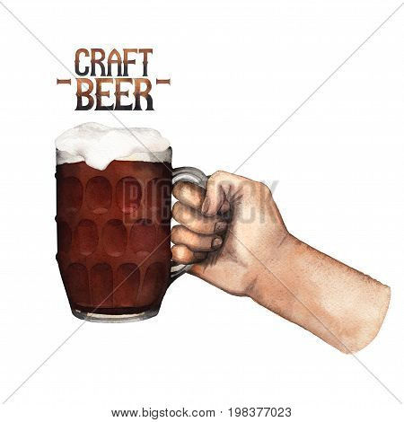 Watercolor hand holding pint of beer. Hand painted illustration isolated on white background poster