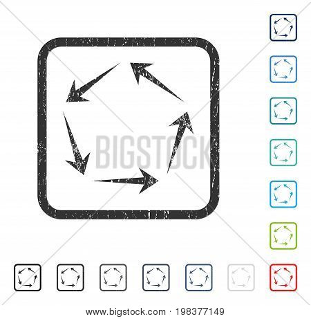 Circulation rubber watermark in some color versions.. Vector pictogram symbol inside rounded rectangular frame with grunge design and dust texture. Stamp seal illustration, unclean sticker.