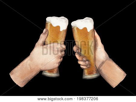 Two watercolor hands holding high glasses of beer. Hand painted illustration isolated on black background
