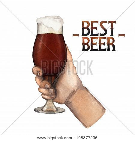 Watercolor hand holding tulip shaped glass of pale beer. Hand painted illustration isolated on white background