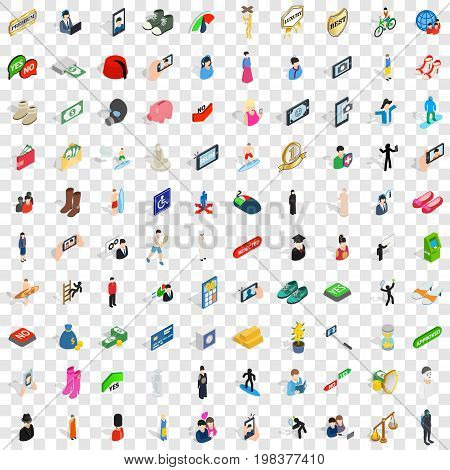 100 man icons set in isometric 3d style for any design vector illustration